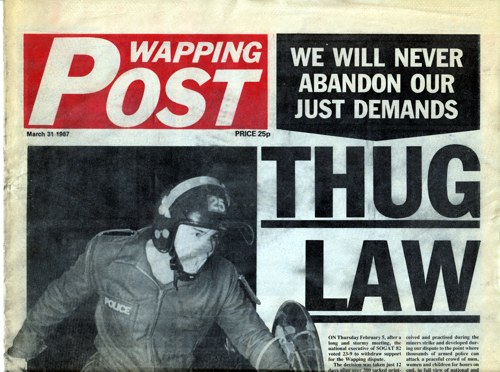 Part of the front cover of possibly the last issue of the Wapping Post ever published, dated March 31, 1987