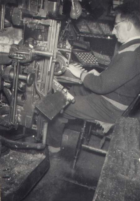 Jim Ireland operating the Linotype Model 48 at the Driffield Times