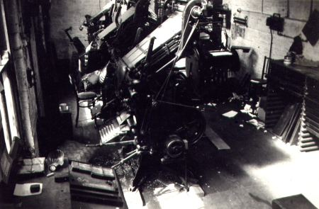 Two Linotype Model 4s and a Model 1 at the Bridlington Chronicle