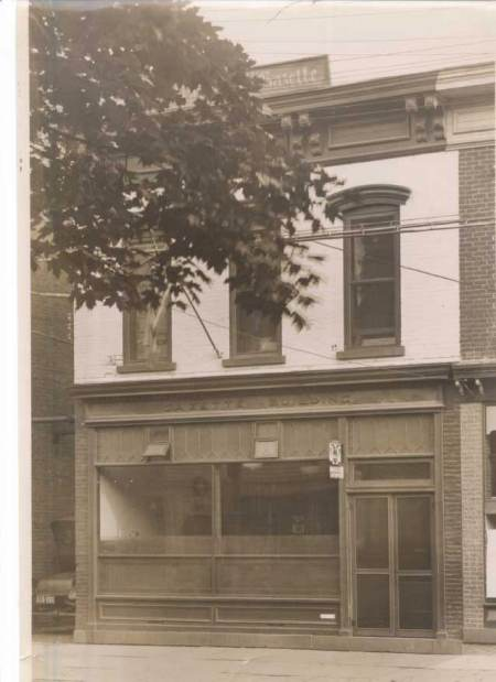 The outside of the Rhinebeck Gazette building, circa 1930
