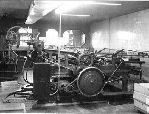 Old Miehle newspaper press at the Provost News, Alberta, Canada