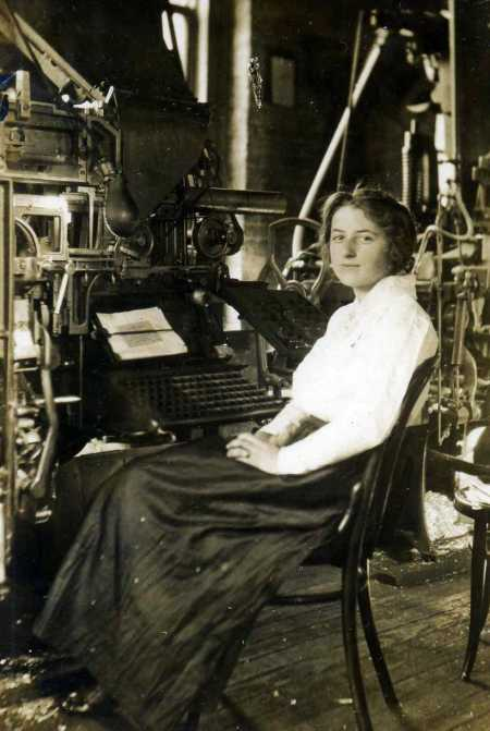 Jessie Horton at the Linotype Machine, c1910