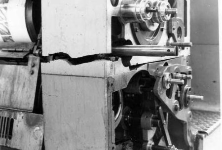 Damaged Miehle printing press