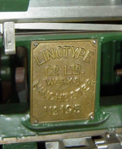 Linotype Model 1 makers plate