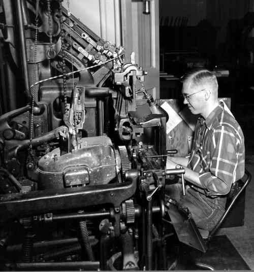 Ackley World Journal Linotype Operator, LuRay Meyer, at Model 14 in 1955