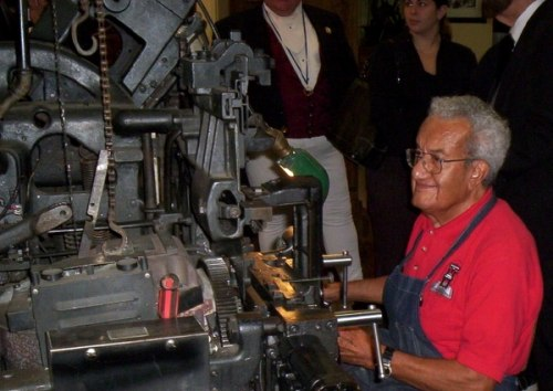Luis Garcia at the International Printing Museum, Carson, California, USA