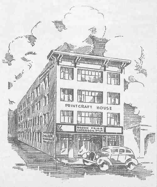 Brown Prior & Co. letterhead and sketch of Printcraft House circa 1930