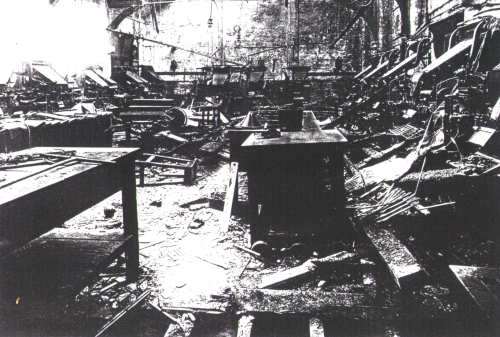 The Linotype Room of the Yorkshire Evening Press in 1942 following the Baedeker Raid on York