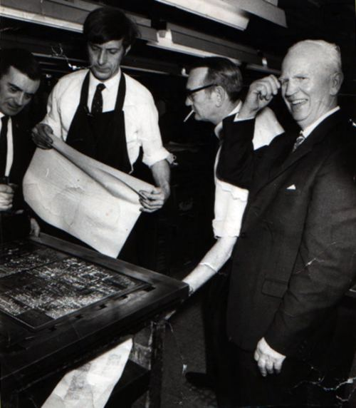 Norman Barnes retires from his job as The Printer on the Daily Mirror, UK, early 1970s
