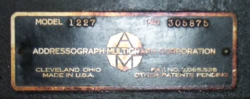 Multilith Makers Plate