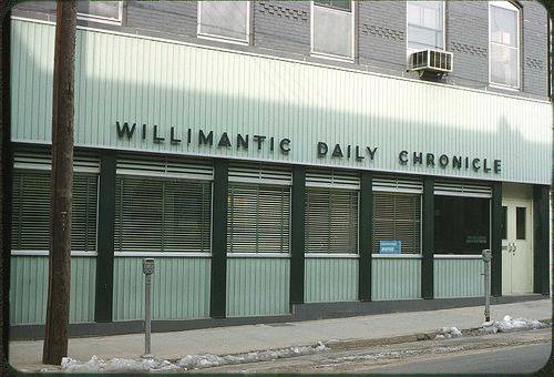 The outside of the Willimantic Daily Chronicle in 1961