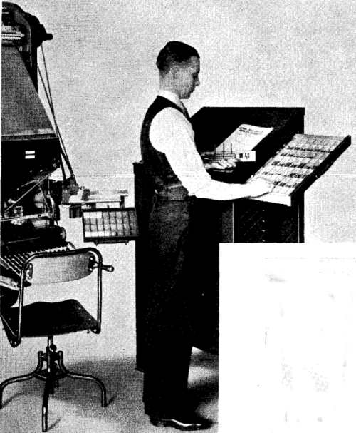 Using the Intertype stick attachment - setting large display lines from the matrix cabinet
