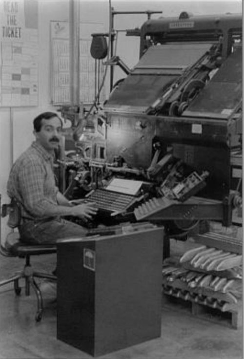 Tony Bassano operating an Intertype C4-1 at Califorms Printing Company, San Jose, California, USA, c1976