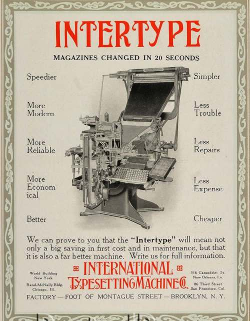1913 Intertype Advertisement