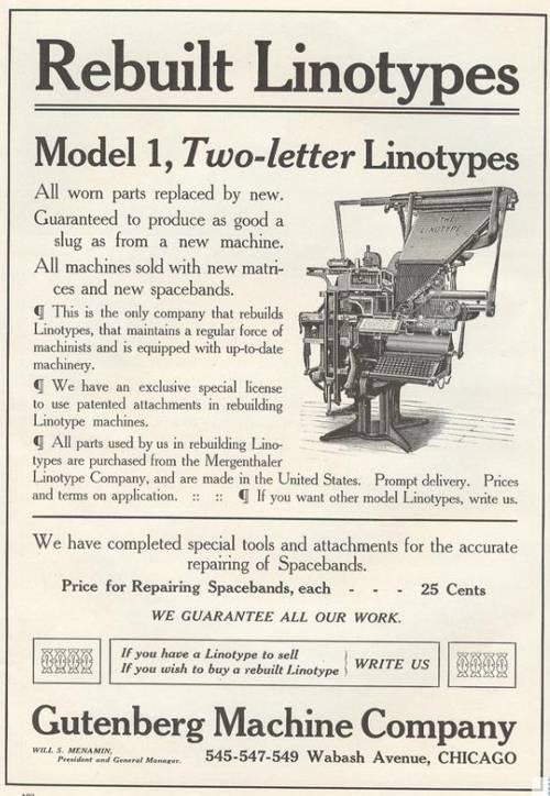 1909 advertisement from the Gutenberg Machine Company, Chicago, offering an upgrade service on the Linotype Model 1