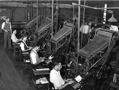 Linotype operators at the Chicago Defender newspaper, 1941
