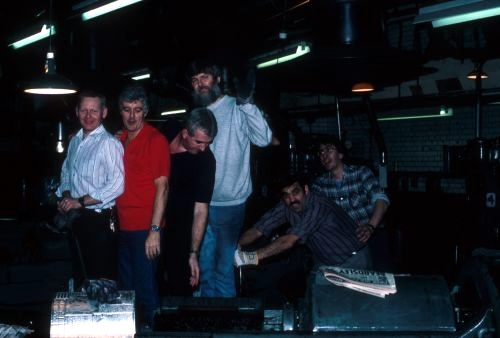 The late crew in the foundry