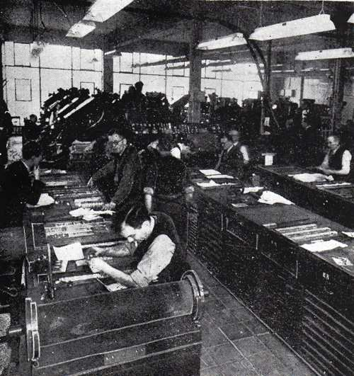 The composing room of the Yorkshire Evening Press, Coney Street, York, circa 1954