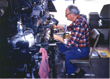Edward Farnell at his Model 8 Linotype