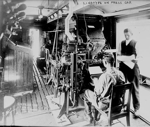Linotype machine on a railway/railroad press car, July 1913