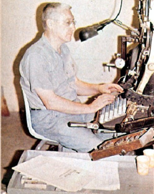 Francis Edgecombe, owner of Edgecombe/ Printer, operating his rebuilt Model 9 Linotype