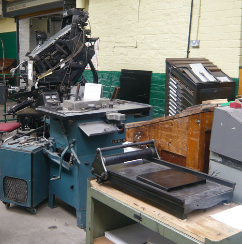 Ludlow, proofing press, Linotype in background