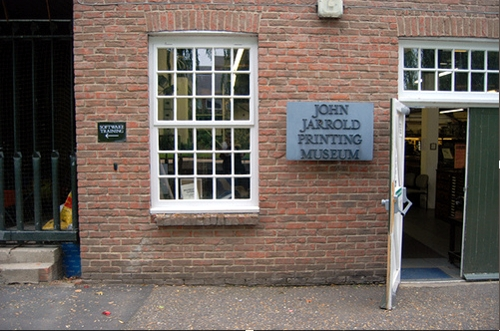 The front door of the Jogn Jarrold Printing Museum, Norwich, UK