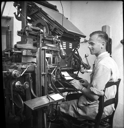 Intertype machine and operator