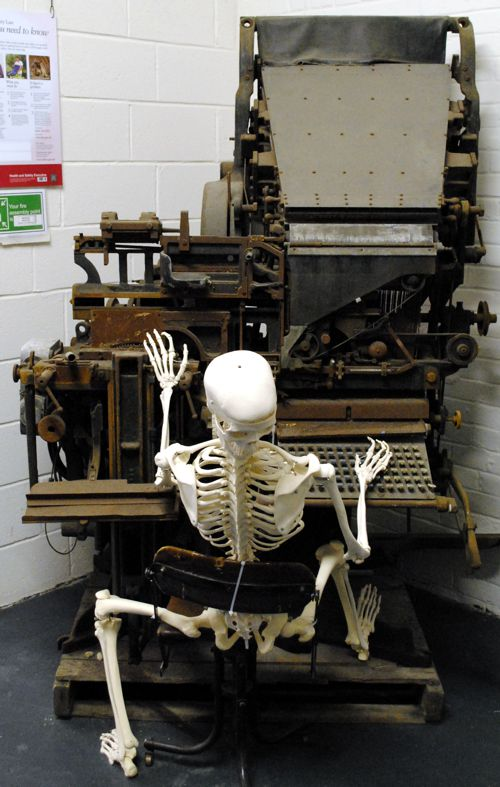 Linotype machine and skeleton