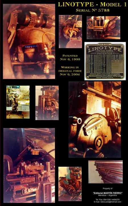 Linotype Model 1 linecaster for sale in Argentina